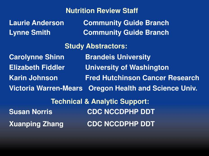 Nutrition Review Staff