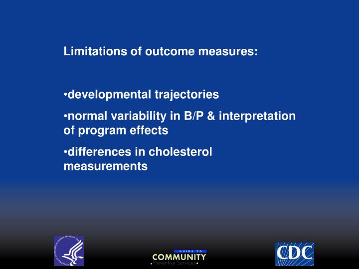 Limitations of outcome measures: