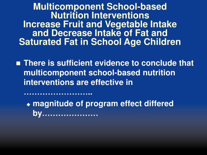 Multicomponent School-based Nutrition Interventions