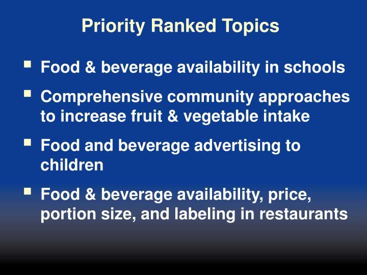 Priority Ranked Topics