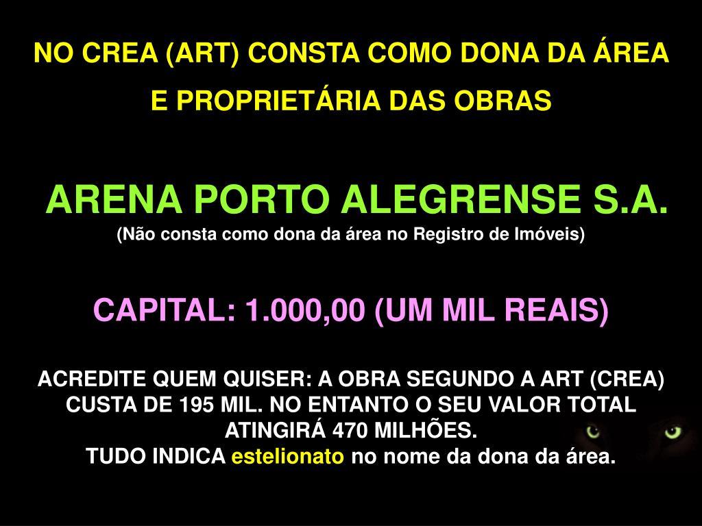 NO CREA (ART) CONSTA COMO DONA DA ÁREA E PROPRIETÁRIA DAS OBRAS