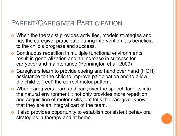 Parent/Caregiver Participation