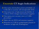 uncertain ct angio indications
