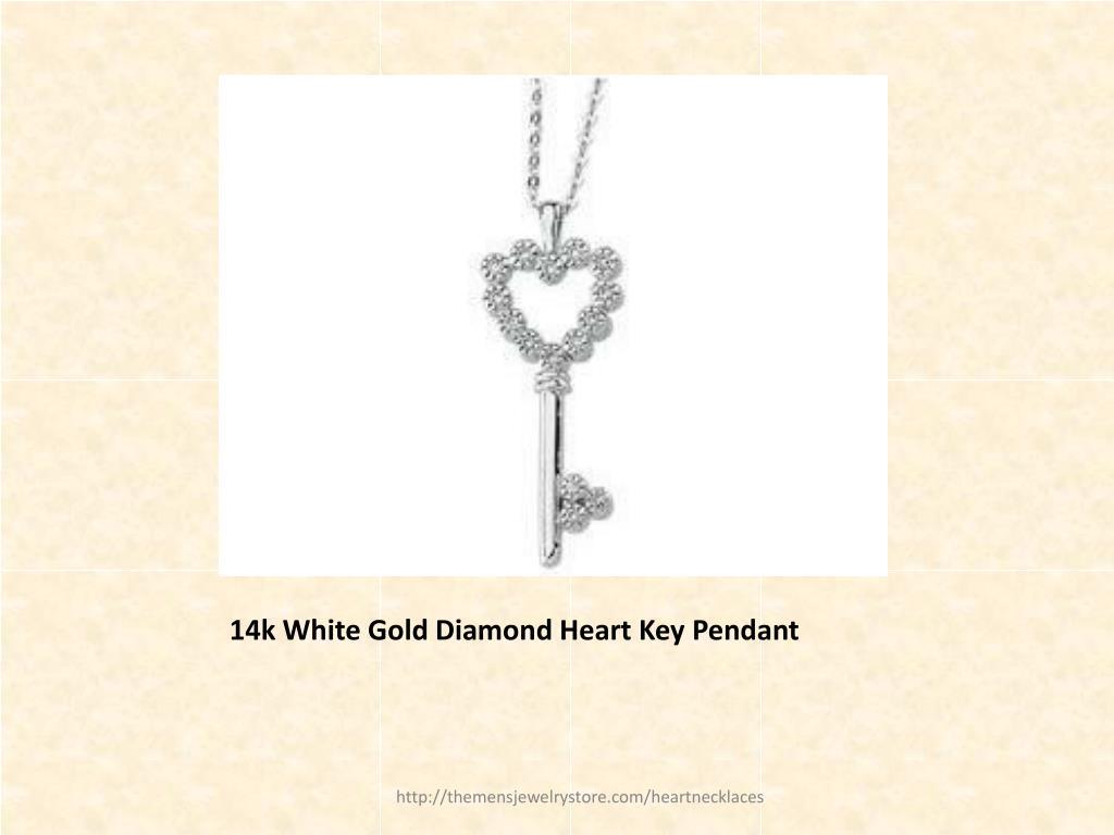 14k White Gold Diamond Heart Key Pendant