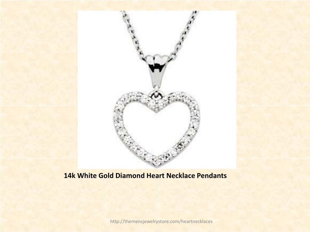 14k White Gold Diamond Heart Necklace Pendants