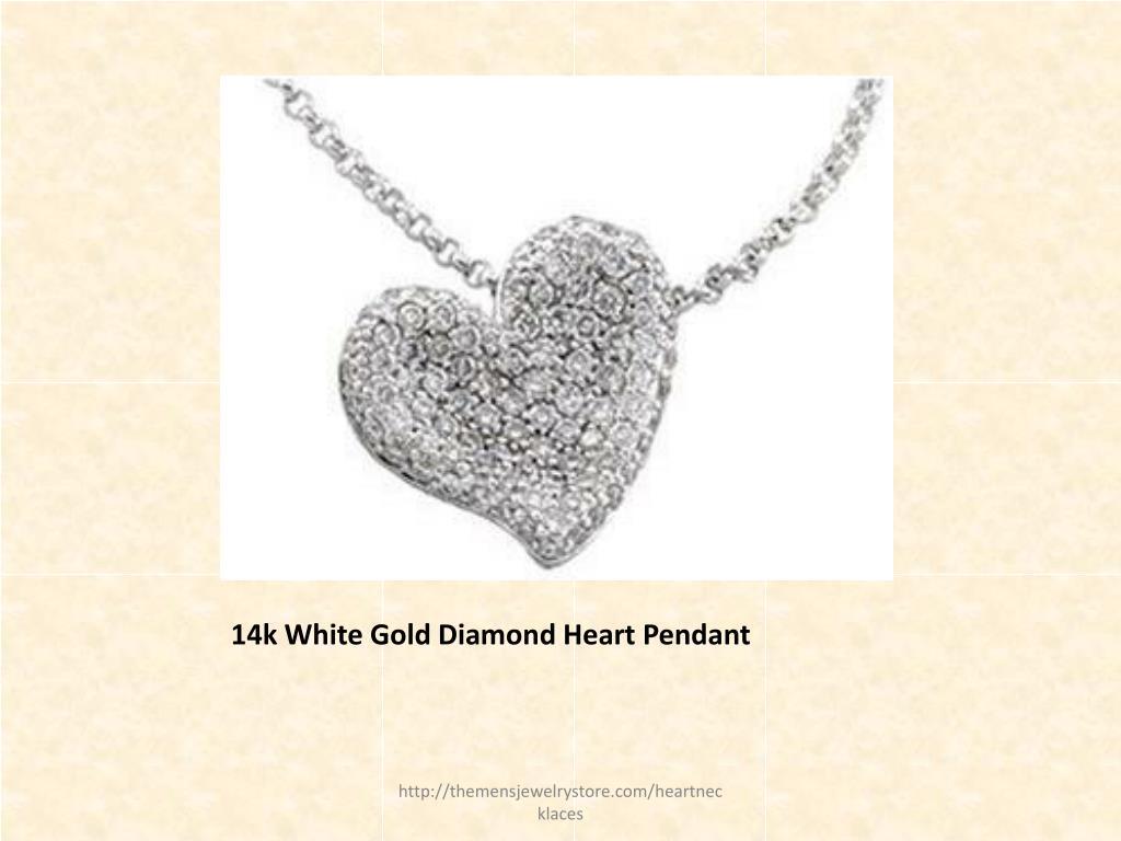 14k White Gold Diamond Heart Pendant