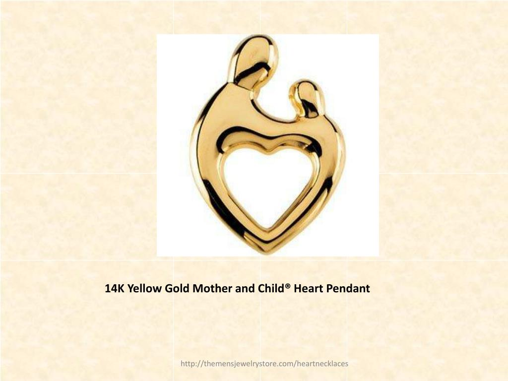 14K Yellow Gold Mother and Child® Heart Pendant