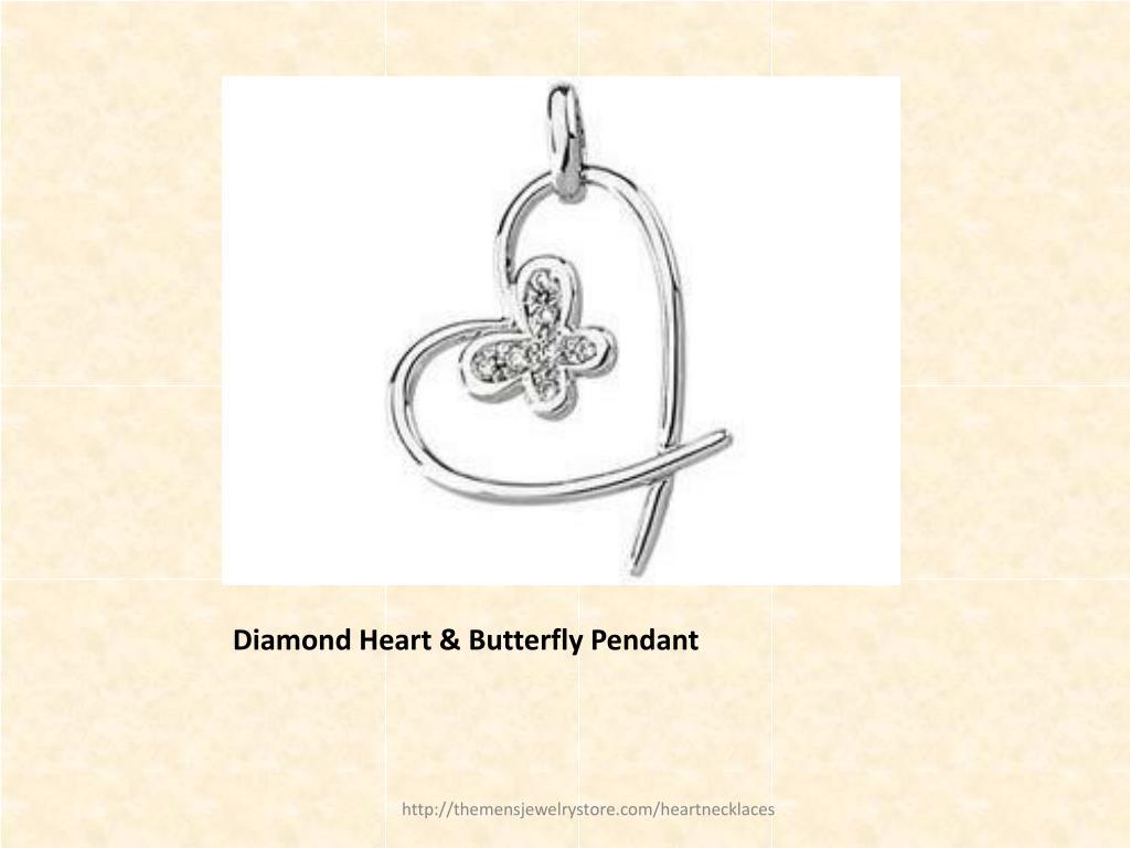 Diamond Heart & Butterfly Pendant