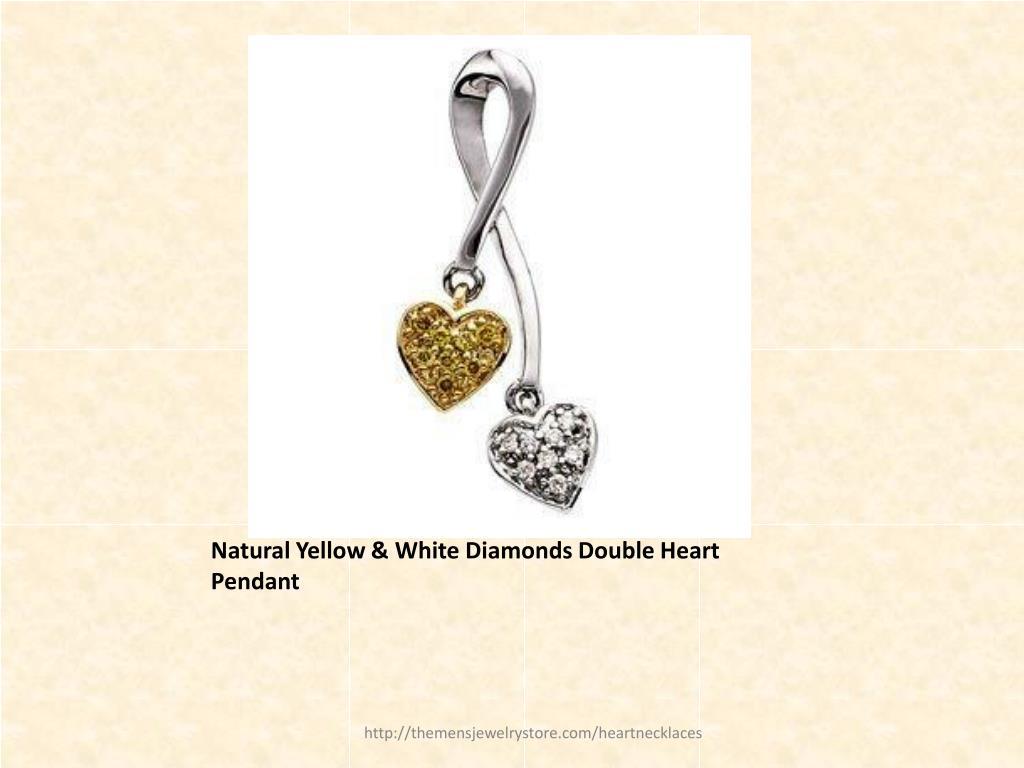Natural Yellow & White Diamonds Double Heart Pendant