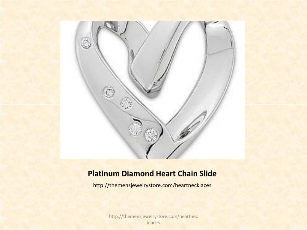 Platinum Diamond Heart Chain Slide