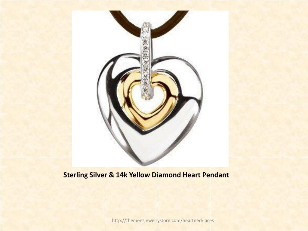 Sterling Silver & 14k Yellow Diamond Heart Pendant