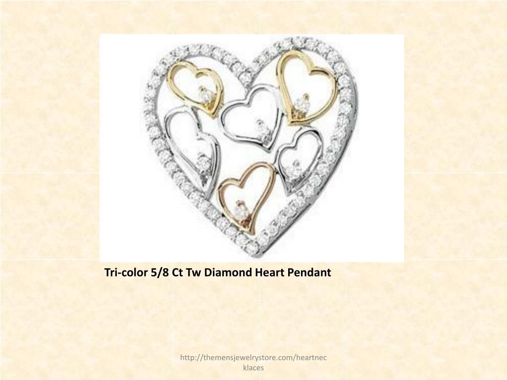 Tri-color 5/8 Ct Tw Diamond Heart Pendant
