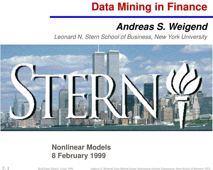 Data Mining in Finance
