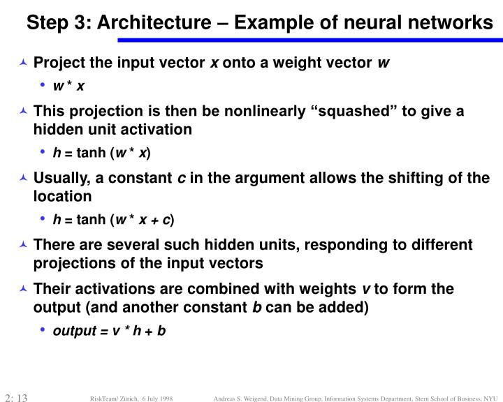 Step 3: Architecture – Example of neural networks