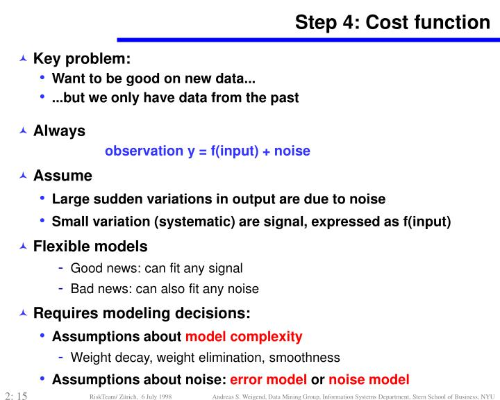 Step 4: Cost function