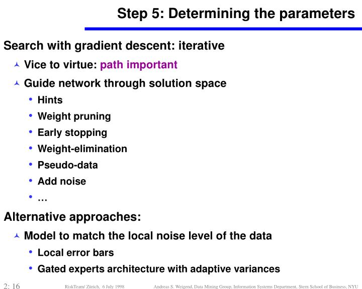 Step 5: Determining the parameters