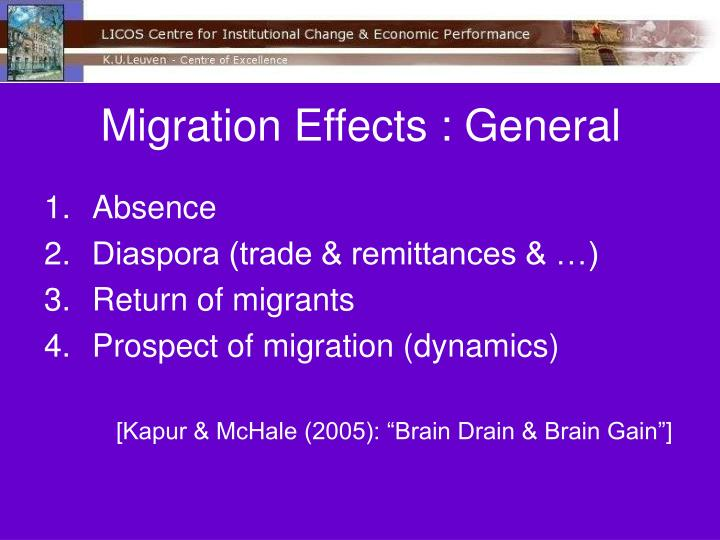 Migration Effects : General