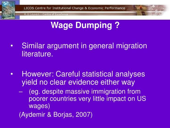 Wage Dumping ?