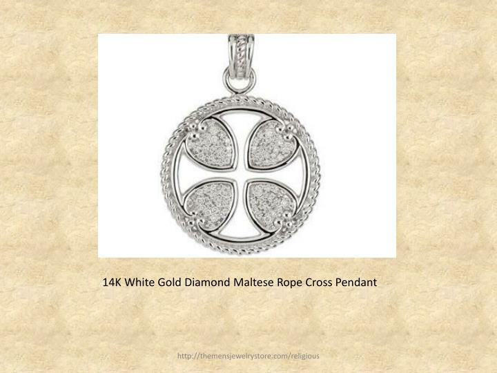 14k white gold diamond maltese rope cross pendant