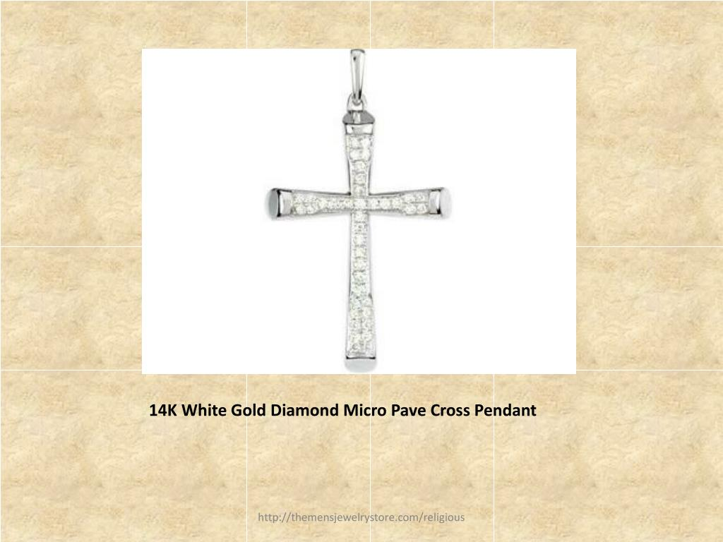 14K White Gold Diamond Micro Pave Cross Pendant
