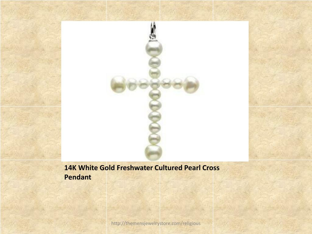 14K White Gold Freshwater Cultured Pearl Cross Pendant