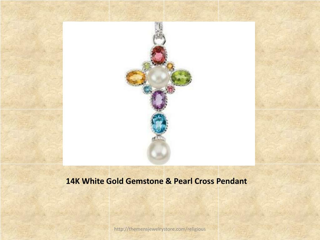 14K White Gold Gemstone & Pearl Cross Pendant