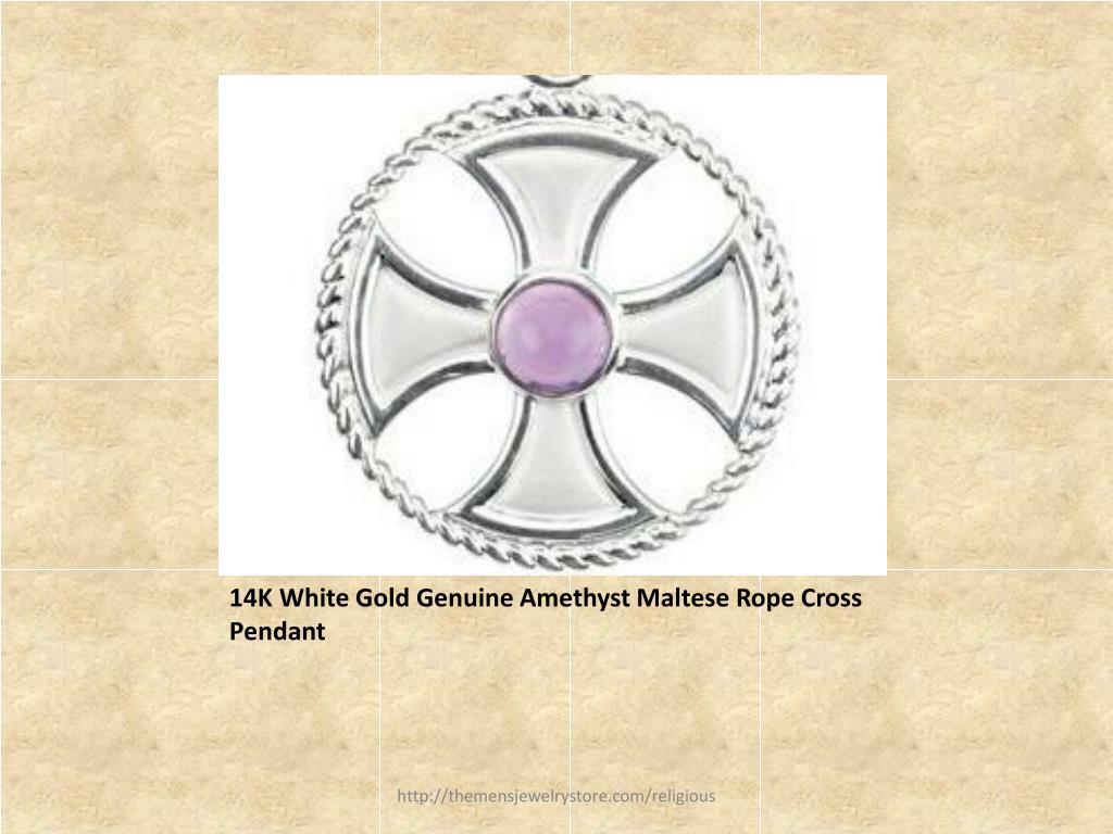 14K White Gold Genuine Amethyst Maltese Rope Cross Pendant
