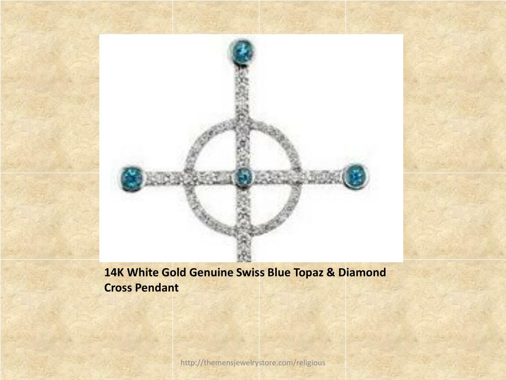 14K White Gold Genuine Swiss Blue Topaz & Diamond Cross Pendant