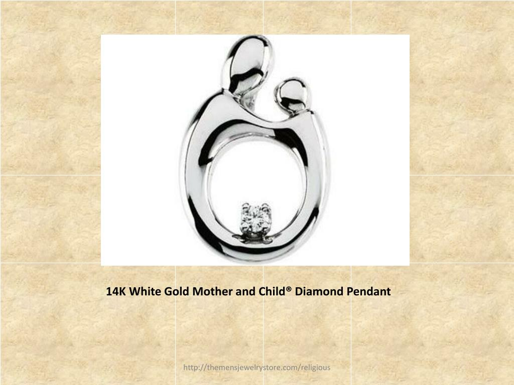 14K White Gold Mother and Child® Diamond Pendant