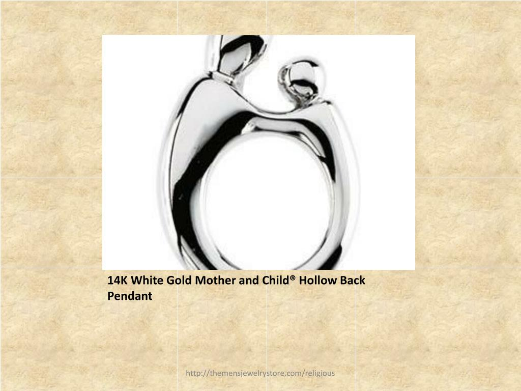 14K White Gold Mother and Child® Hollow Back Pendant