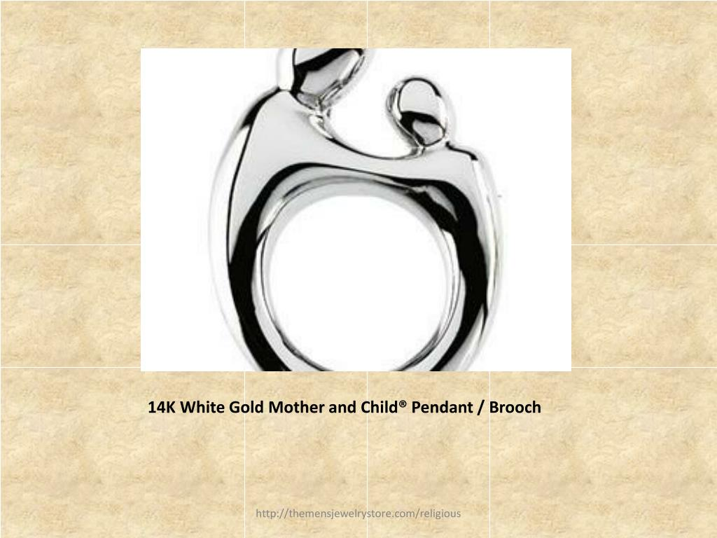 14K White Gold Mother and Child® Pendant / Brooch