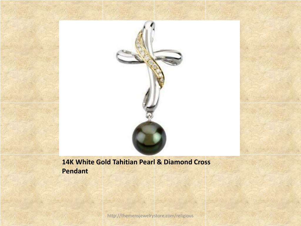 14K White Gold Tahitian Pearl & Diamond Cross Pendant
