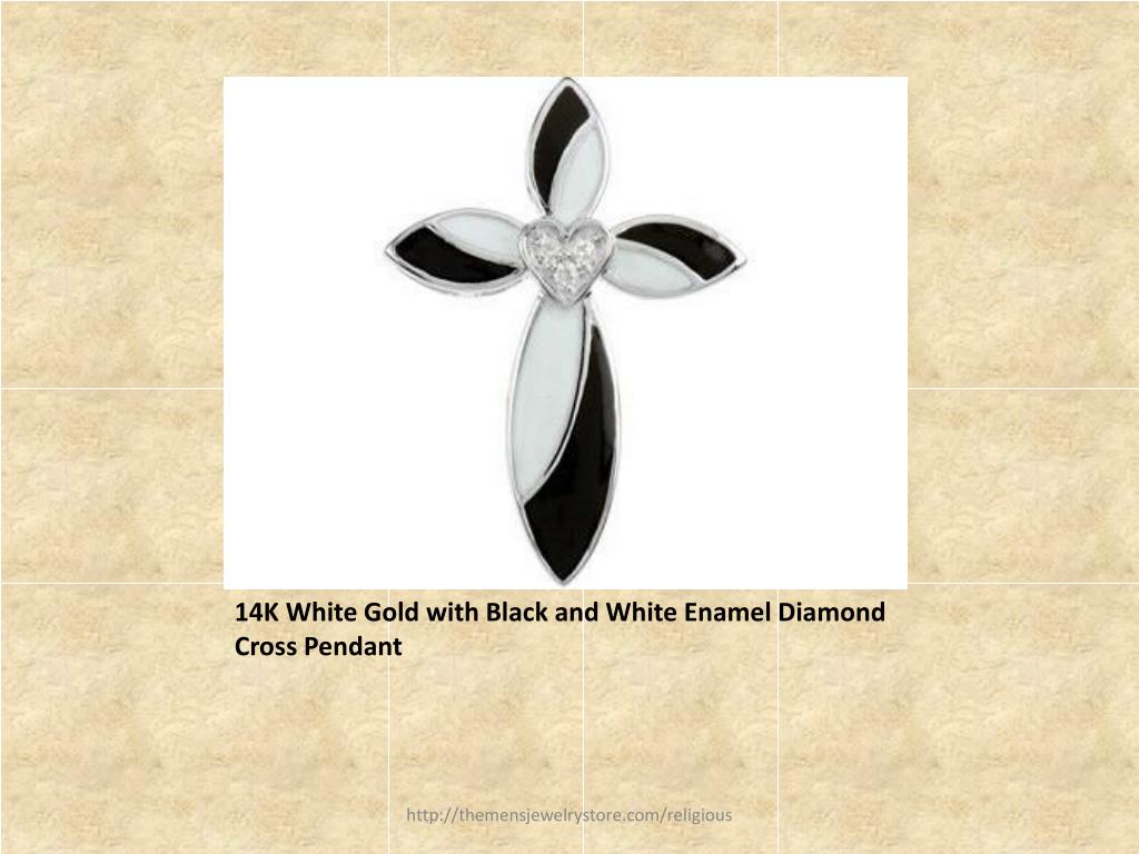 14K White Gold with Black and White Enamel Diamond Cross Pendant