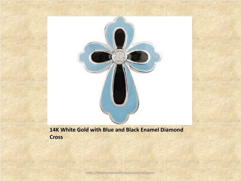 14K White Gold with Blue and Black Enamel Diamond Cross