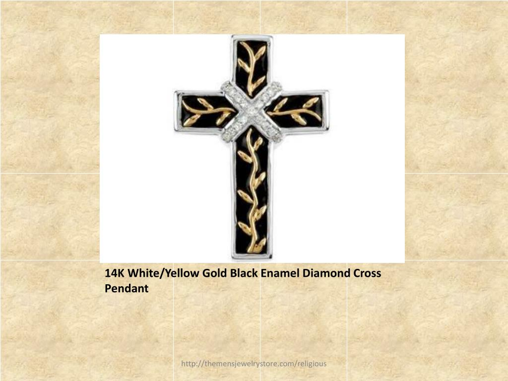 14K White/Yellow Gold Black Enamel Diamond Cross