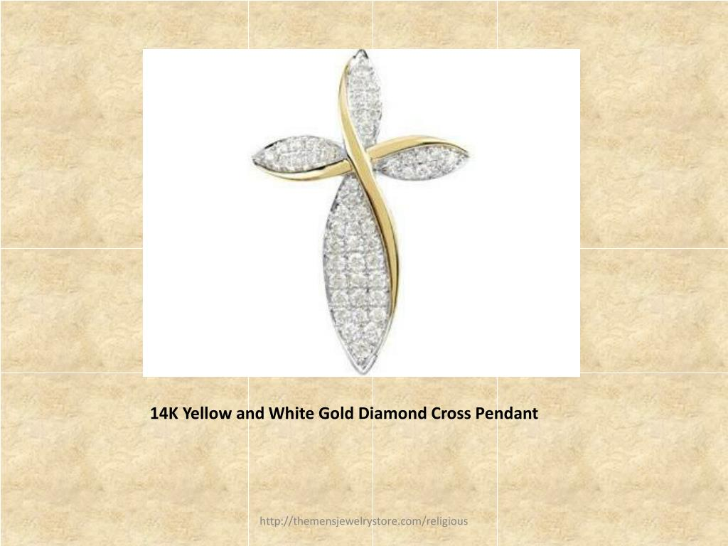14K Yellow and White Gold Diamond Cross Pendant