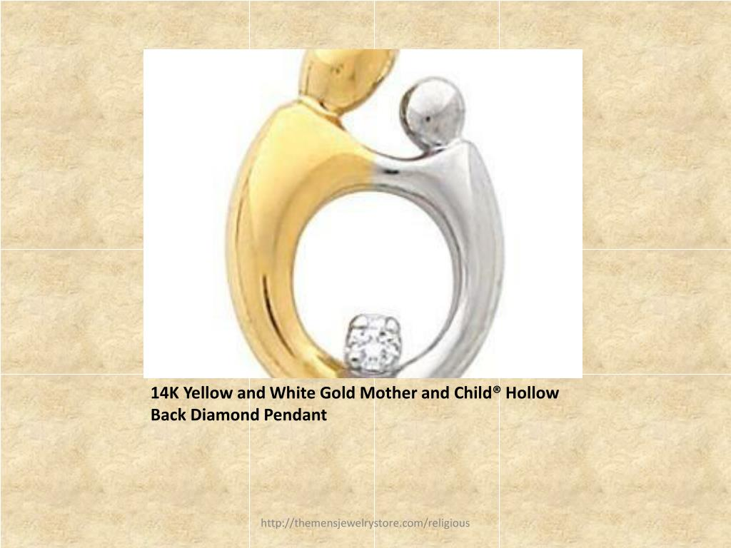 14K Yellow and White Gold Mother and Child® Hollow Back Diamond Pendant