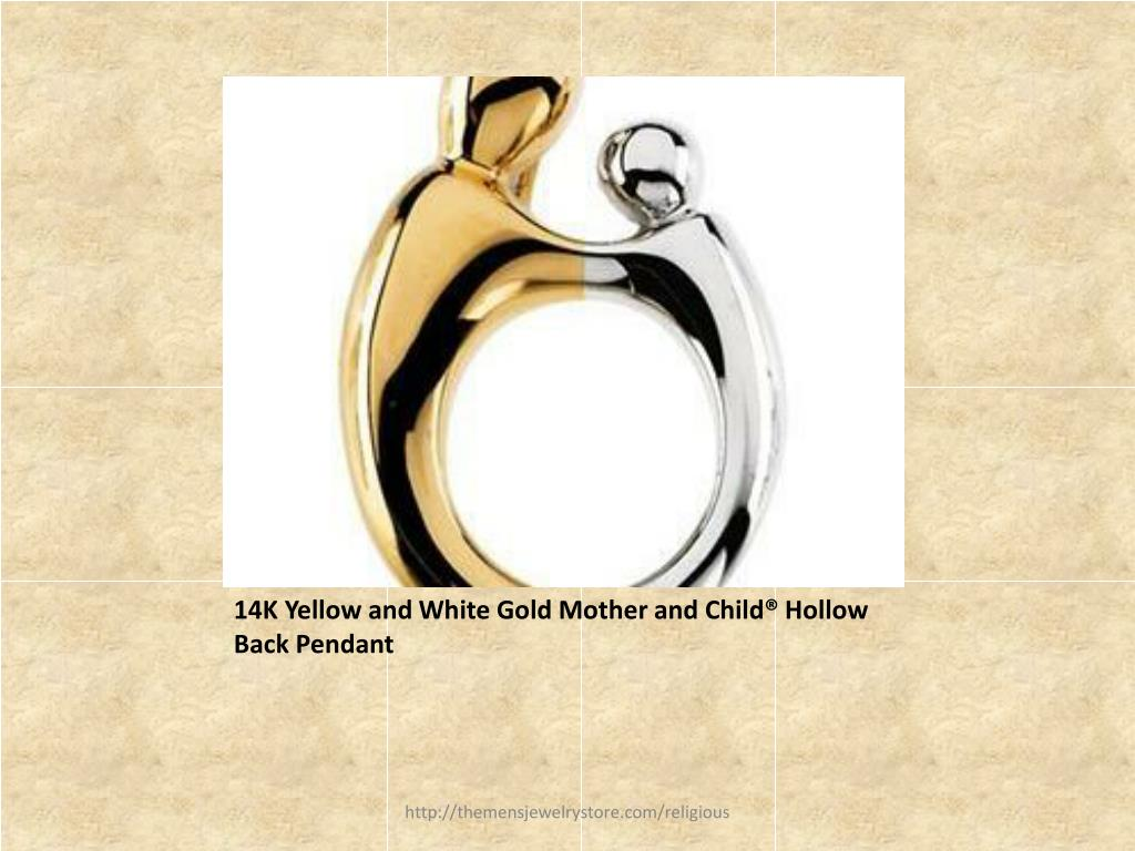14K Yellow and White Gold Mother and Child® Hollow Back Pendant