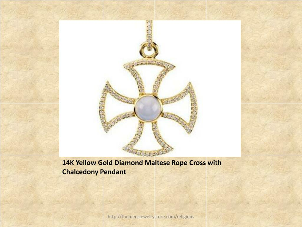 14K Yellow Gold Diamond Maltese Rope Cross with Chalcedony Pendant