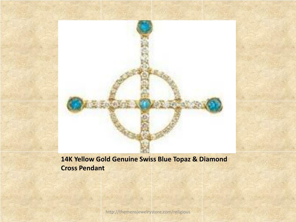 14K Yellow Gold Genuine Swiss Blue Topaz & Diamond Cross Pendant