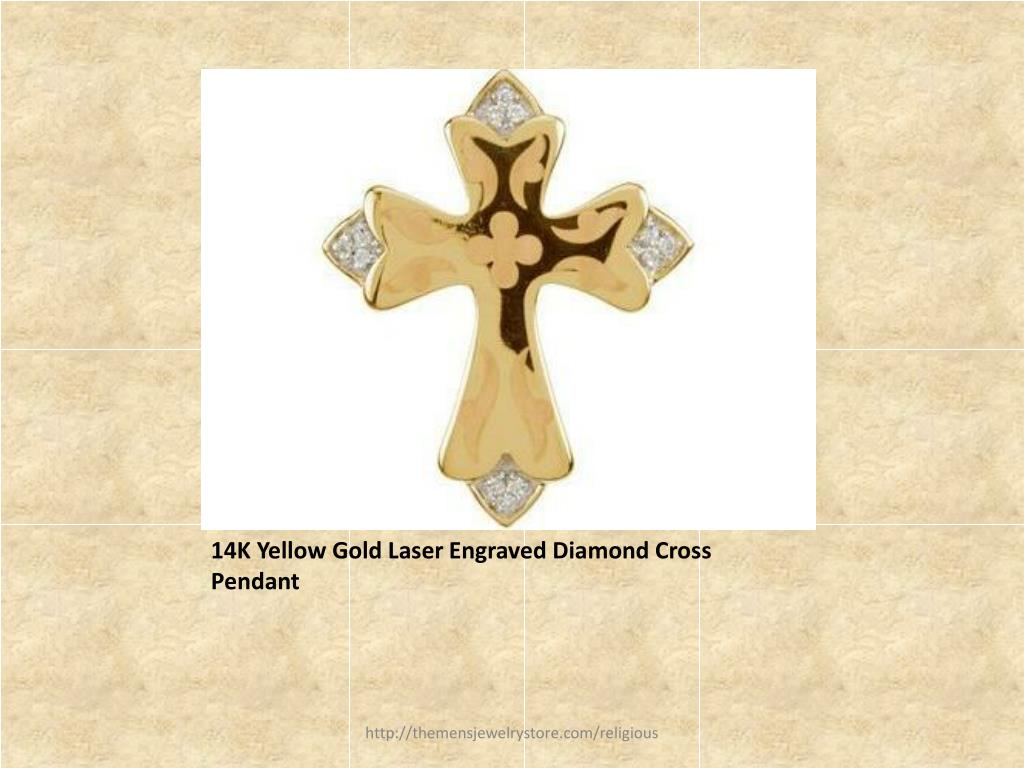 14K Yellow Gold Laser Engraved Diamond Cross Pendant