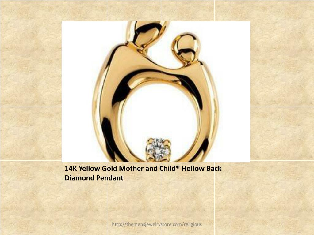 14K Yellow Gold Mother and Child® Hollow Back Diamond Pendant
