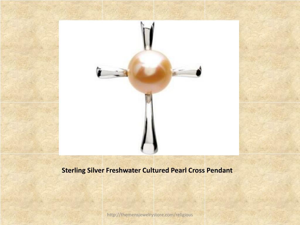 Sterling Silver Freshwater Cultured Pearl Cross Pendant