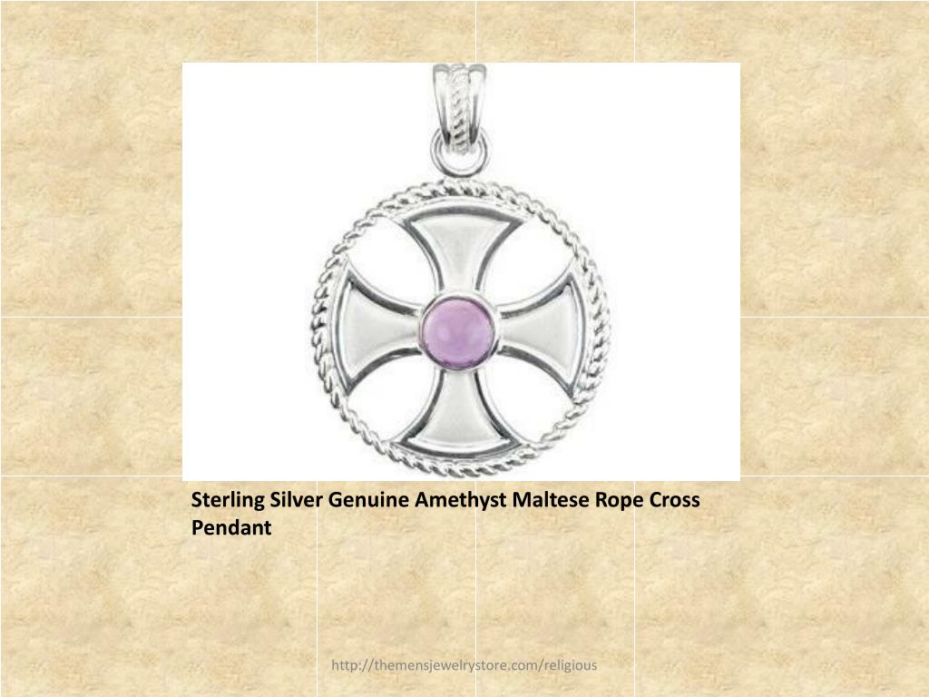 Sterling Silver Genuine Amethyst Maltese Rope Cross Pendant