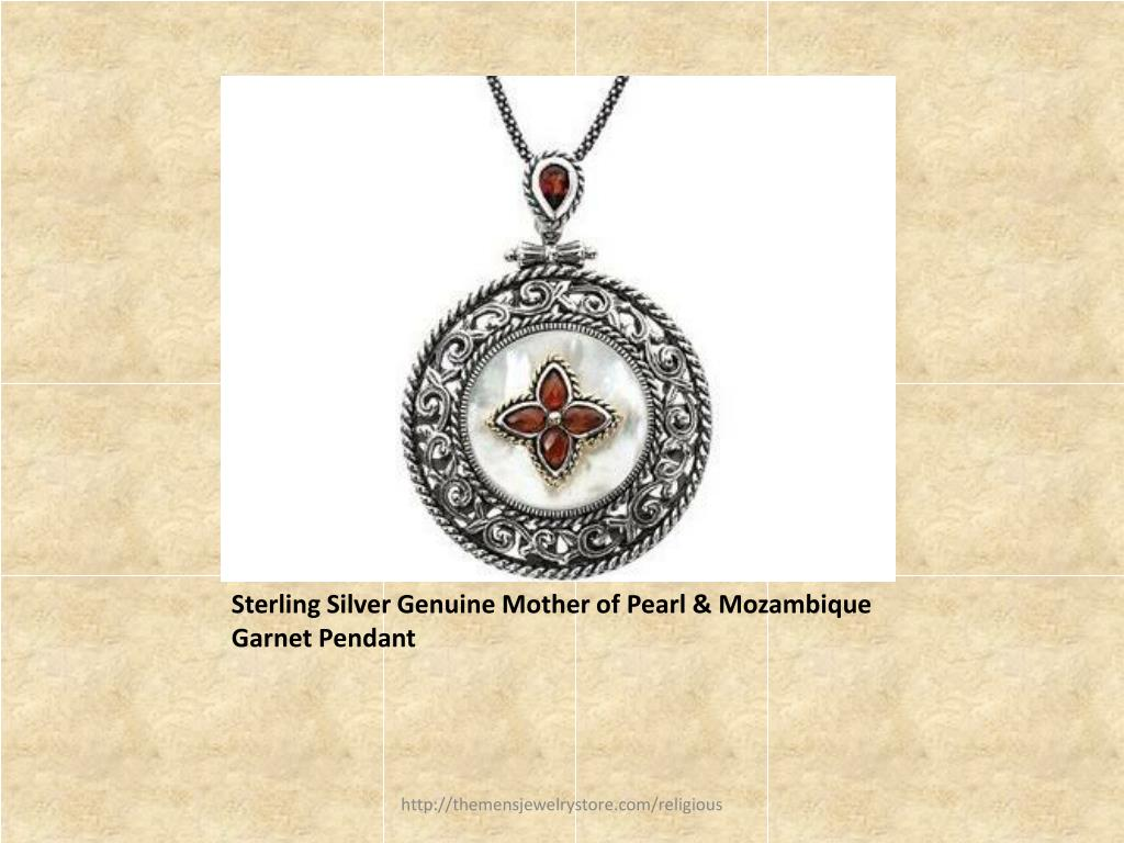 Sterling Silver Genuine Mother of Pearl & Mozambique Garnet Pendant