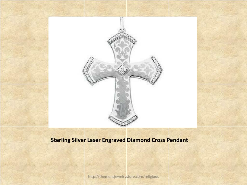 Sterling Silver Laser Engraved Diamond Cross Pendant