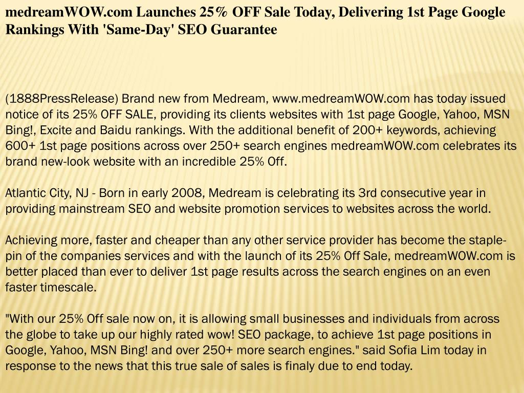 medreamWOW.com Launches 25% OFF Sale Today, Delivering 1st Page Google Rankings With 'Same-Day' SEO Guarantee