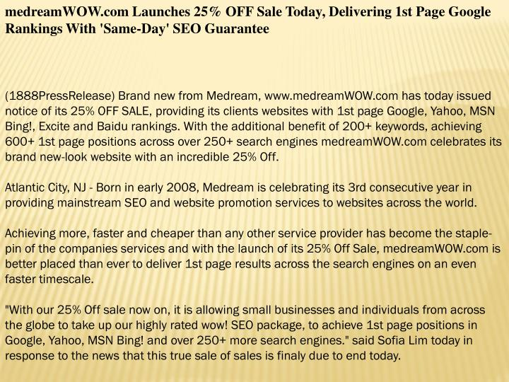 MedreamWOW.com Launches 25% OFF Sale Today, Delivering 1st Page Google Rankings With 'Same-Day' SEO ...