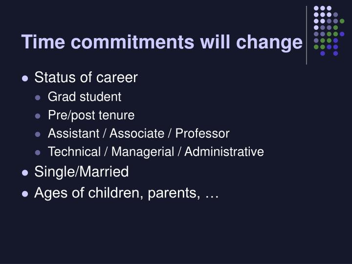 Time commitments will change