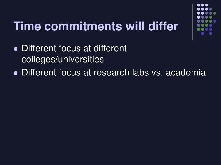 Time commitments will differ